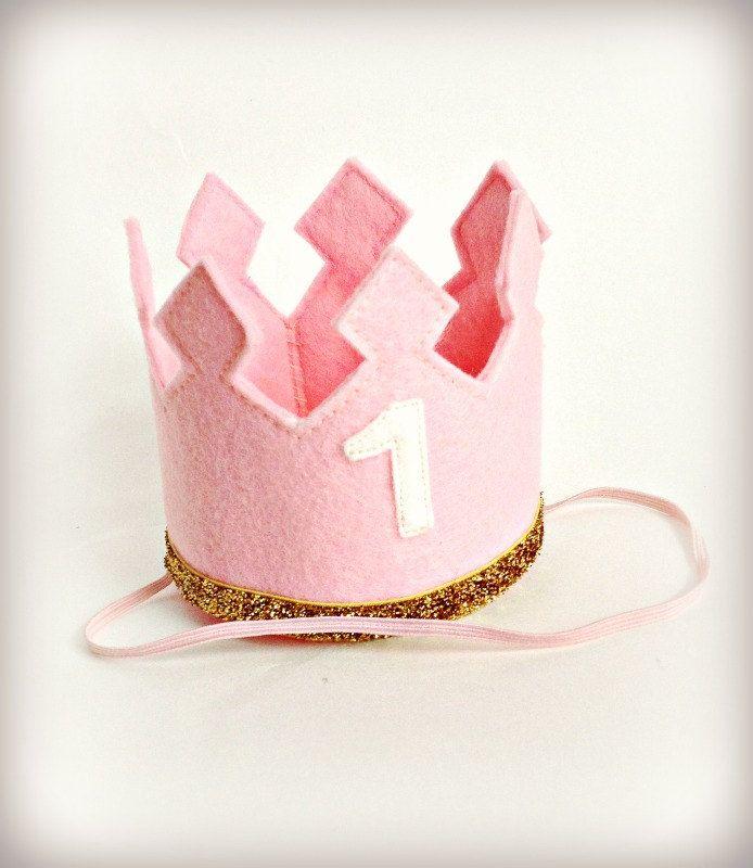 Birthday Crown Pink Felt Crown Headband LARGE Gold Glitter