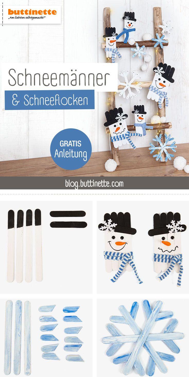 Schneemänner & Schneeflocken aus Holzstäbchen basteln