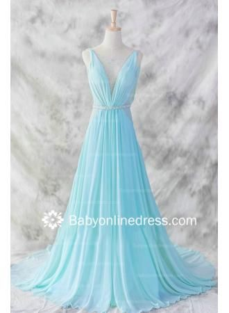 USD$149.00 - A-Line Straps Beadings Evening Dresses 2015 Sweep Train Prom Gowns with Sash - www.babyonlinedress.com