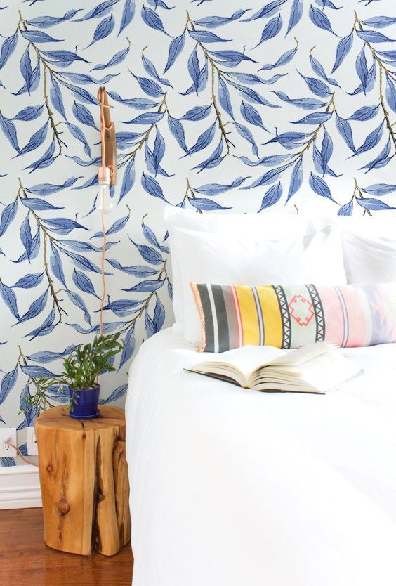 Blue Watercolor Leaves Wallpaper Tropical Wall Mural Wall
