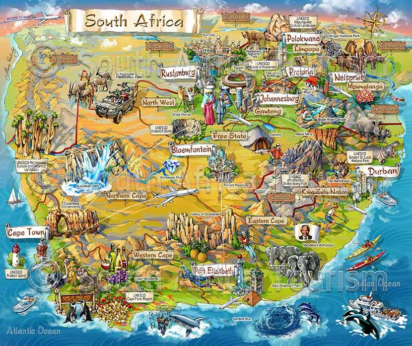 Illustrated Map of tourist attractions in South Africa | Africa