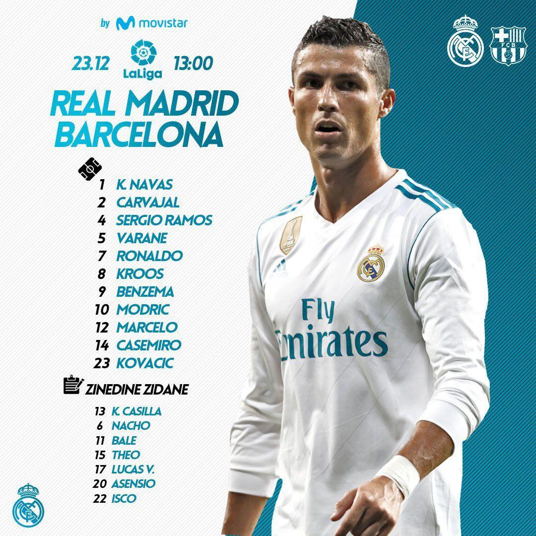 Real Madrid Vs Barcelona Line Up No Bbc Real Madrid Real Madrid And Barcelona Madrid