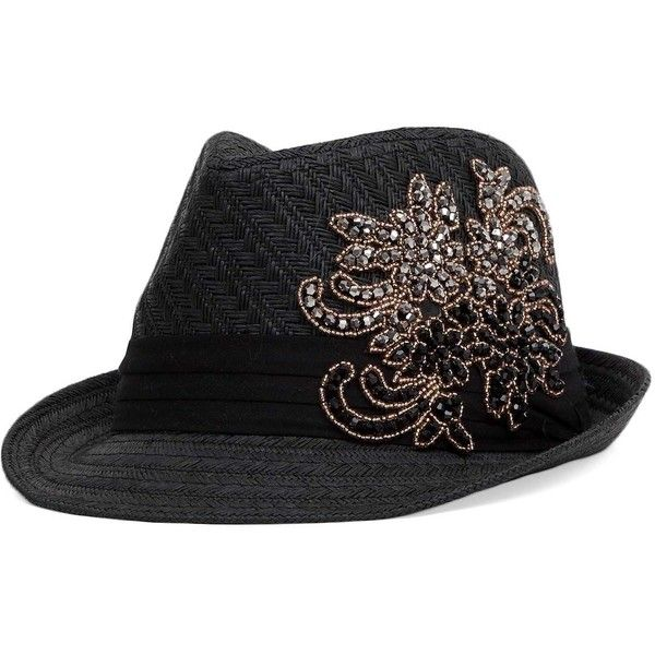 Rhinestone and bead applique straw fedora hat. One size fits most.