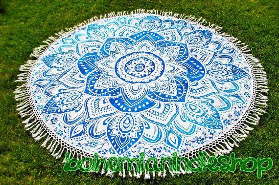 Home Decor - Hippie Beach Throw - Round Mandala Tapestry - Roundie - Yoga…