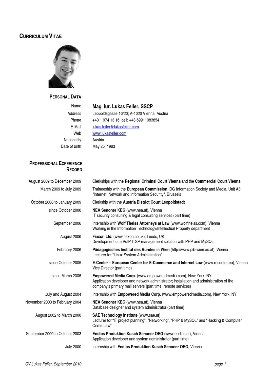 Cv Template Europe Curriculum vitae, Curriculum vitae