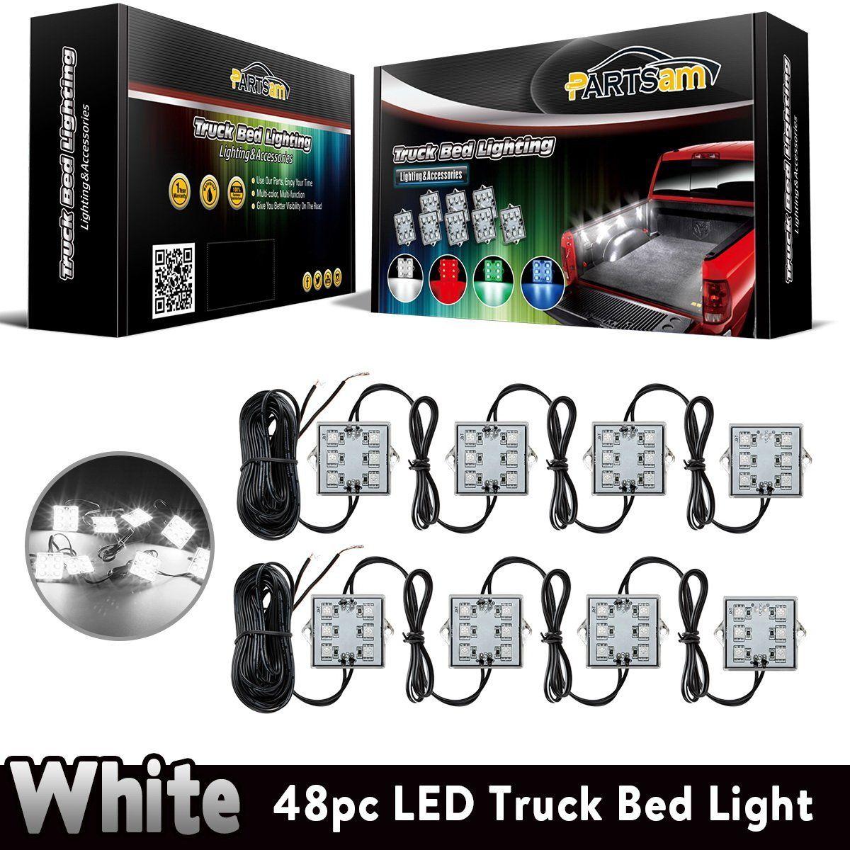 Partsam Universal Waterproof White LED Truck Bed/Rear Work