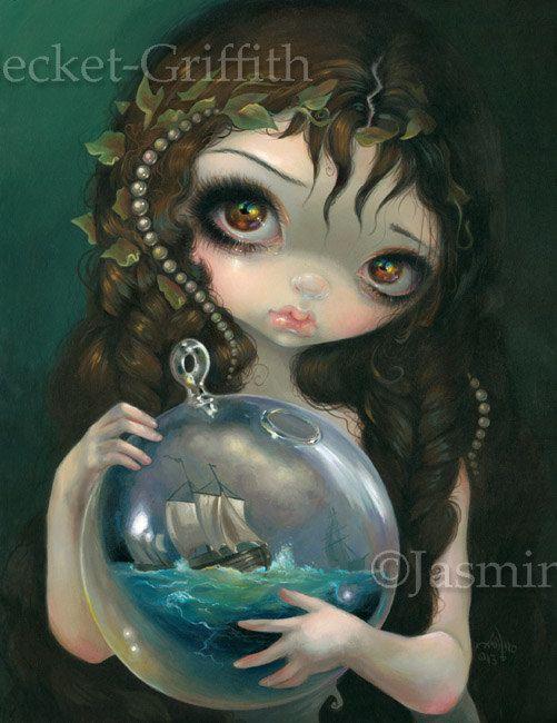 Microcosm Seascape pirate ship alchemy fairy art by strangeling, $13.99
