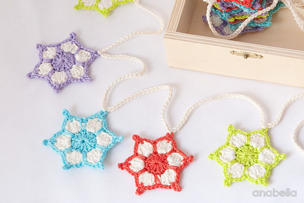 Crochet star garland free pattern 2015 by Anabelia Craft Design ...