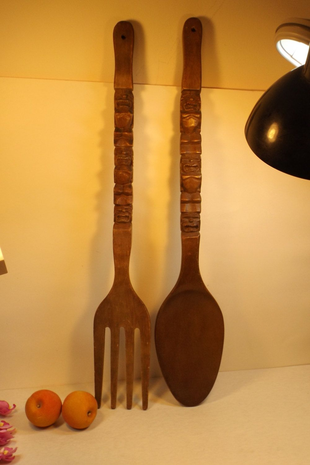 Large Fork And Spoon Wall Decor Unique Wooden Wall Decoration Cutlery Large Decorative Carved