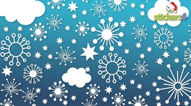 Funky Flakes, Stars & Clouds Big Pack Snowflake Window Cling Stickers | Christmas Snowflake Window Cling Stickers