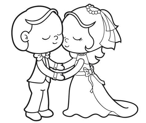 Ausmalbild Hochzeit und Liebe: Verliebtes Brautpaar kostenlos ...