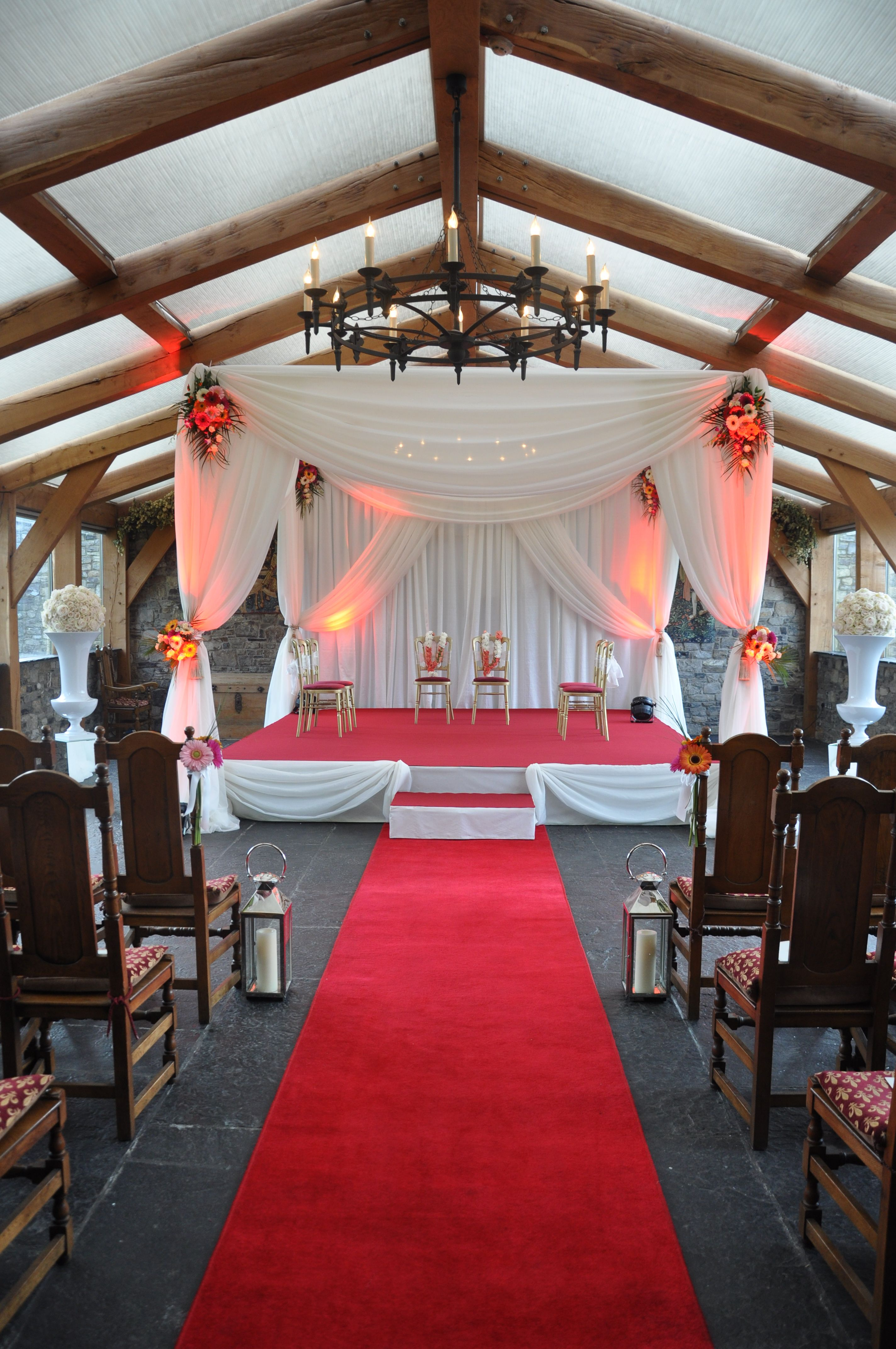 A Stunning Indian Wedding Chuppah Canopy With Red Carpet Aisle Runner Visit Www