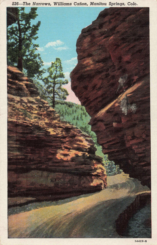 Postcard Narrows Williams Canon Manitou Springs Colorado #manitousprings