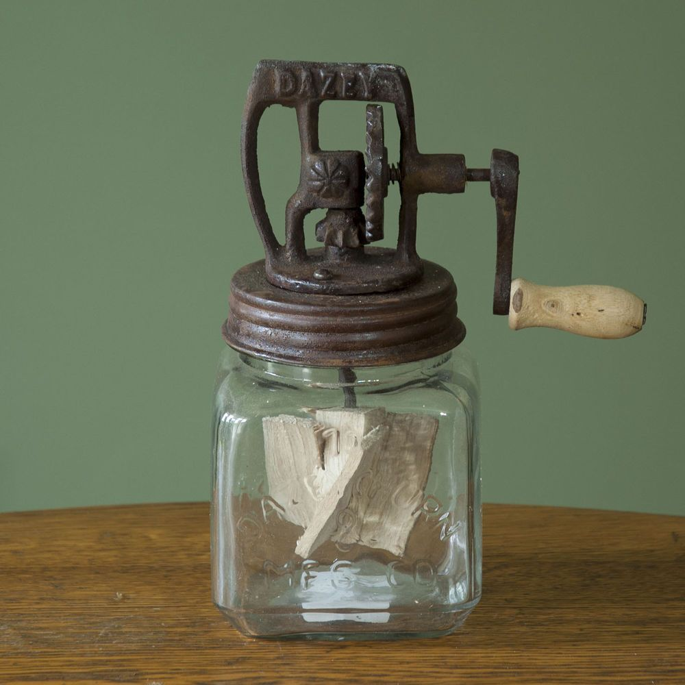 Primitive Retro Butter Churn Glass Mason Jar Crank Lid Rounded  Farmhouse