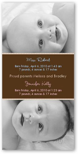 Birth Announcement: Swiss Dots Chocolate, Square Corners, Brown