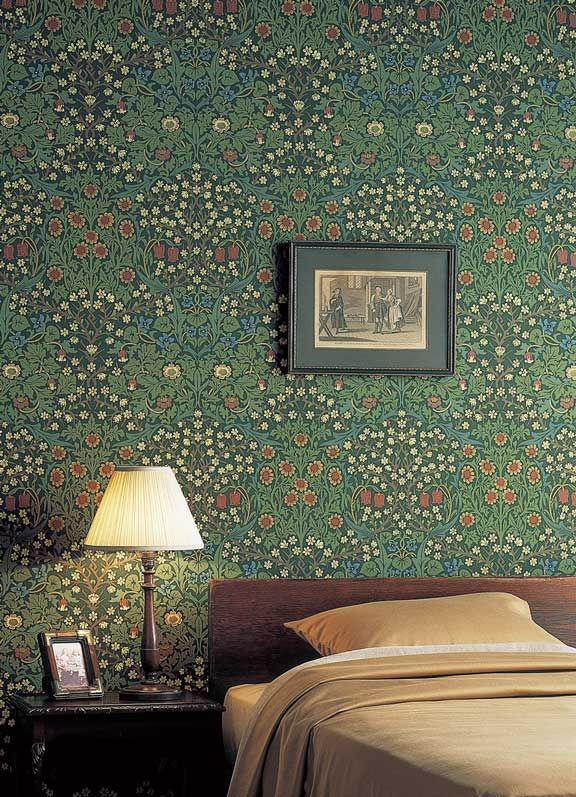 'Blackthorn' by William Morris features pretty meadow flowers of fritilery, viola & daisy are overlain with the white blossoms of hedge blackthorn