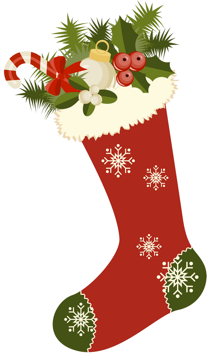 Red Retro Christmas Stocking PNG Picture Clipart Vintage