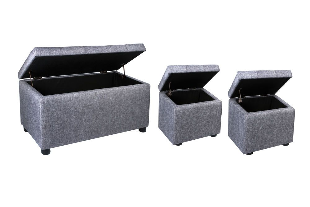 Admirable Storage Ottoman Bench Set 3 Piece Footstool Grey Bedroom Squirreltailoven Fun Painted Chair Ideas Images Squirreltailovenorg