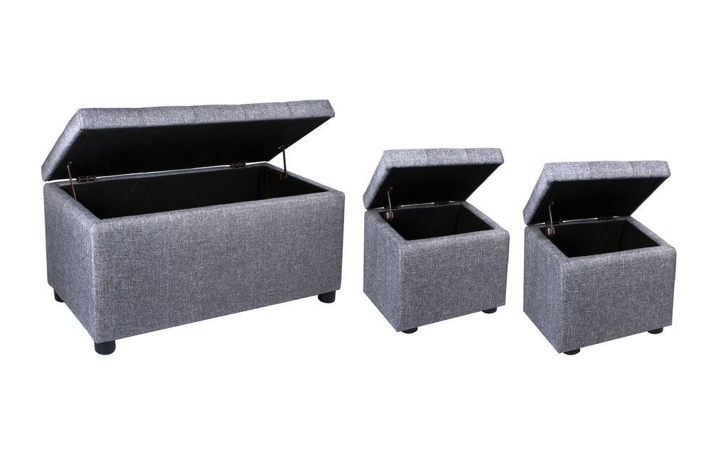 Storage Ottoman Bench Set 3 Piece Footstool Grey Bedroom Furniture