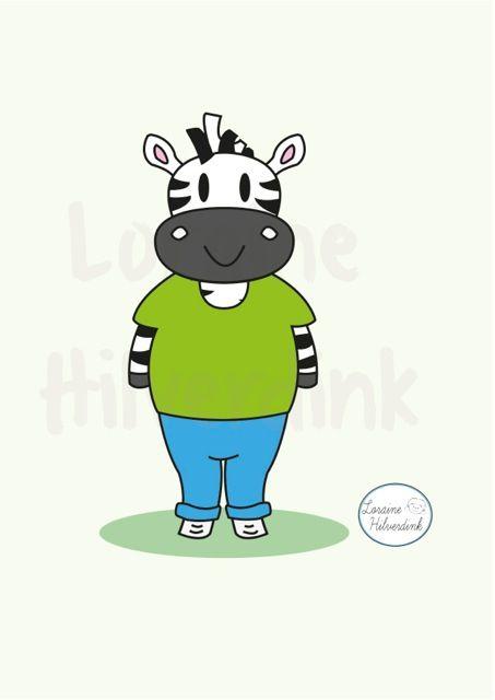 #Illustration #Illustratie #ilustración #animal #dieren #zebra #cebra #childeren #niños #kinderen #drawing