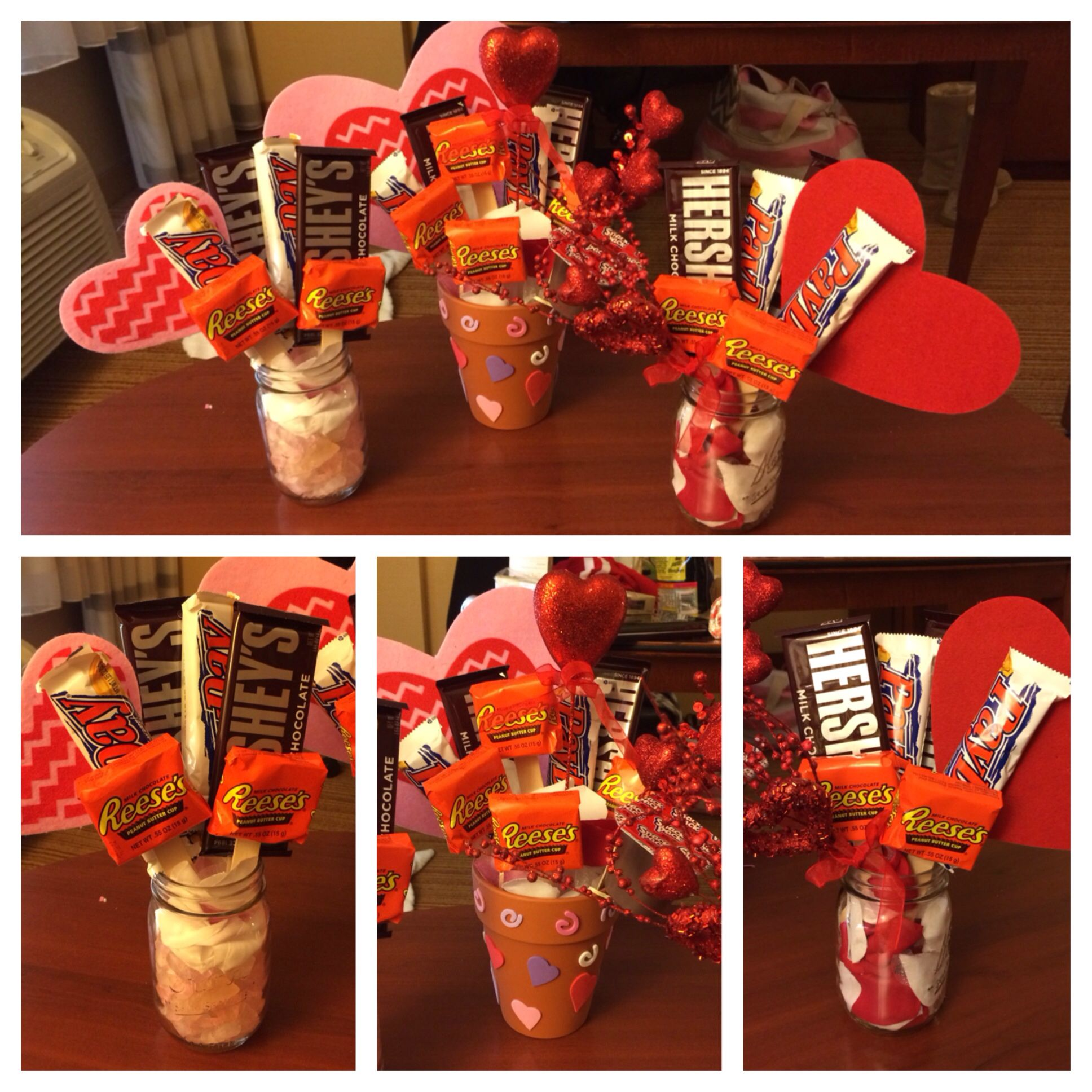 Valentines day candy bouquet in flower pot and Manson jars mmmm ...