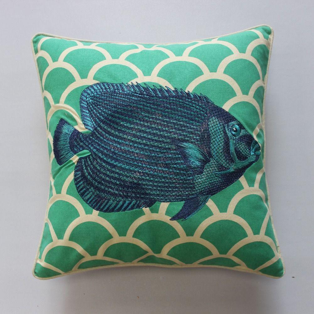 Vezo home embroidered green fish cotton linen modern sofa cushions