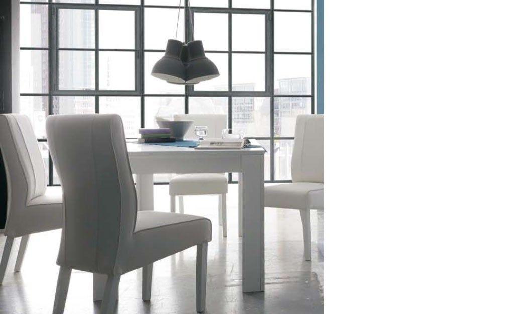 Table avec rallonge blanc laqué mat design MARYLAND Table de salle