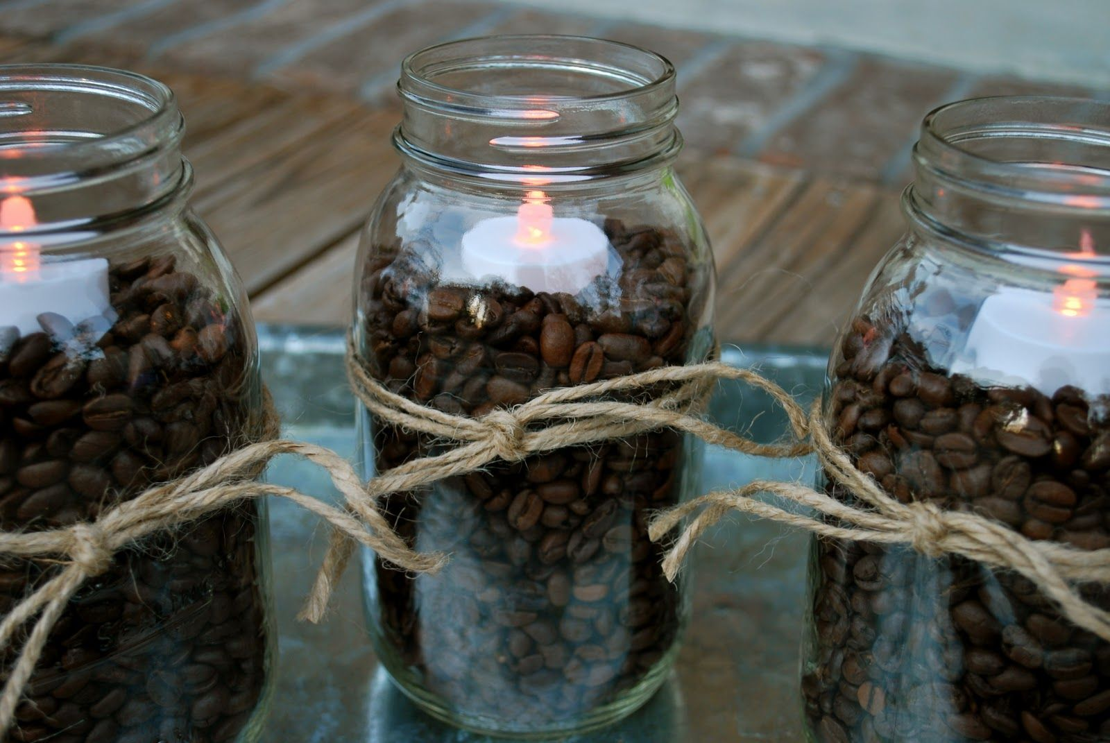 coffee themed kitchen | Fall Decorating–Coffee Beans & Mason Jars