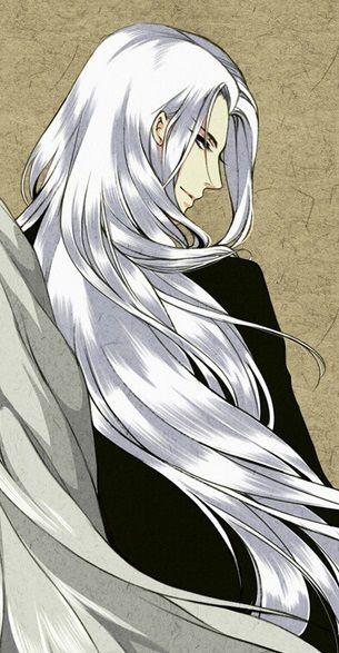 Anime White Hair Boy Guy Long Hot