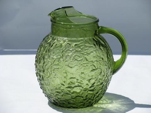 Milano Or Lido Vintage Anchor Hocking Glass Pitcher Retro Green Vintage Glass Pitchers Glass Pitchers Vintage Glassware