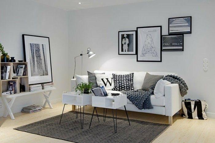 un salon en gris et blanc c 39 est chic voil 82 photos qui en t moignent d co style scandinave. Black Bedroom Furniture Sets. Home Design Ideas