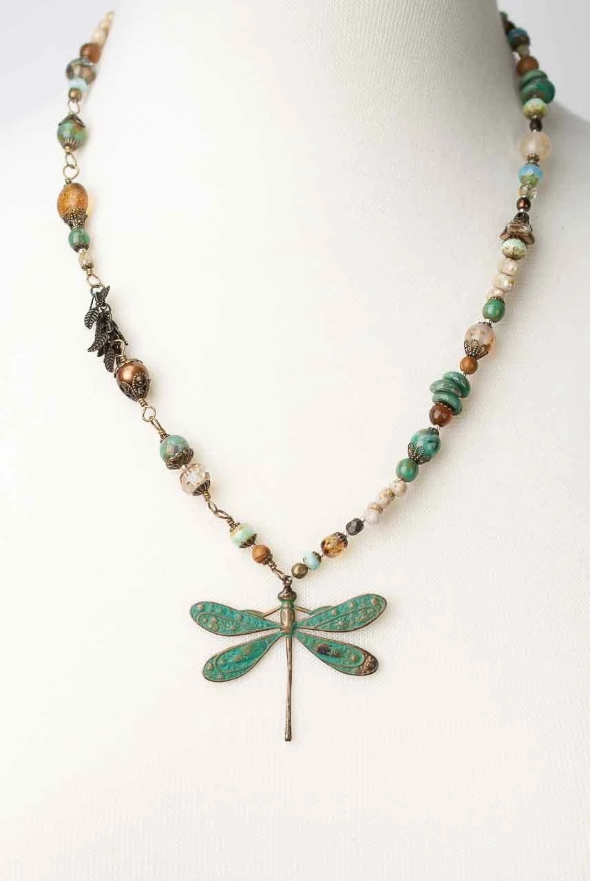 Photo of Rustic Creek 19.5-21″ Copper Dragonfly Gemstone Necklace