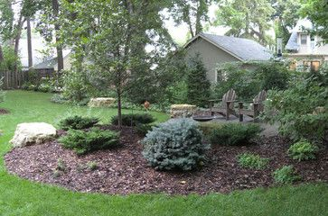 Dry Stream Bed & Fire Ring Sitting Area eclectic