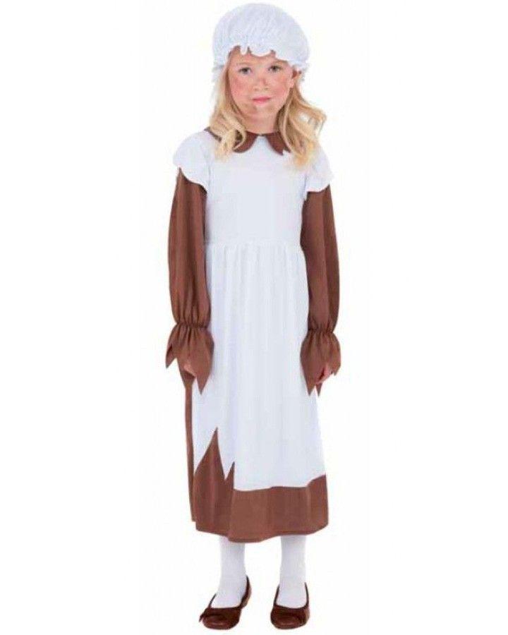 Brand New Colonial Pilgrim Settler Girl Brown Child Costume