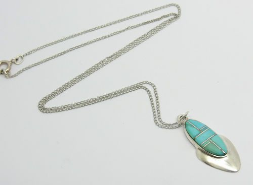 Lovely Sterling Silver Southwest Turquoise stone pendant necklace. Available on ebay