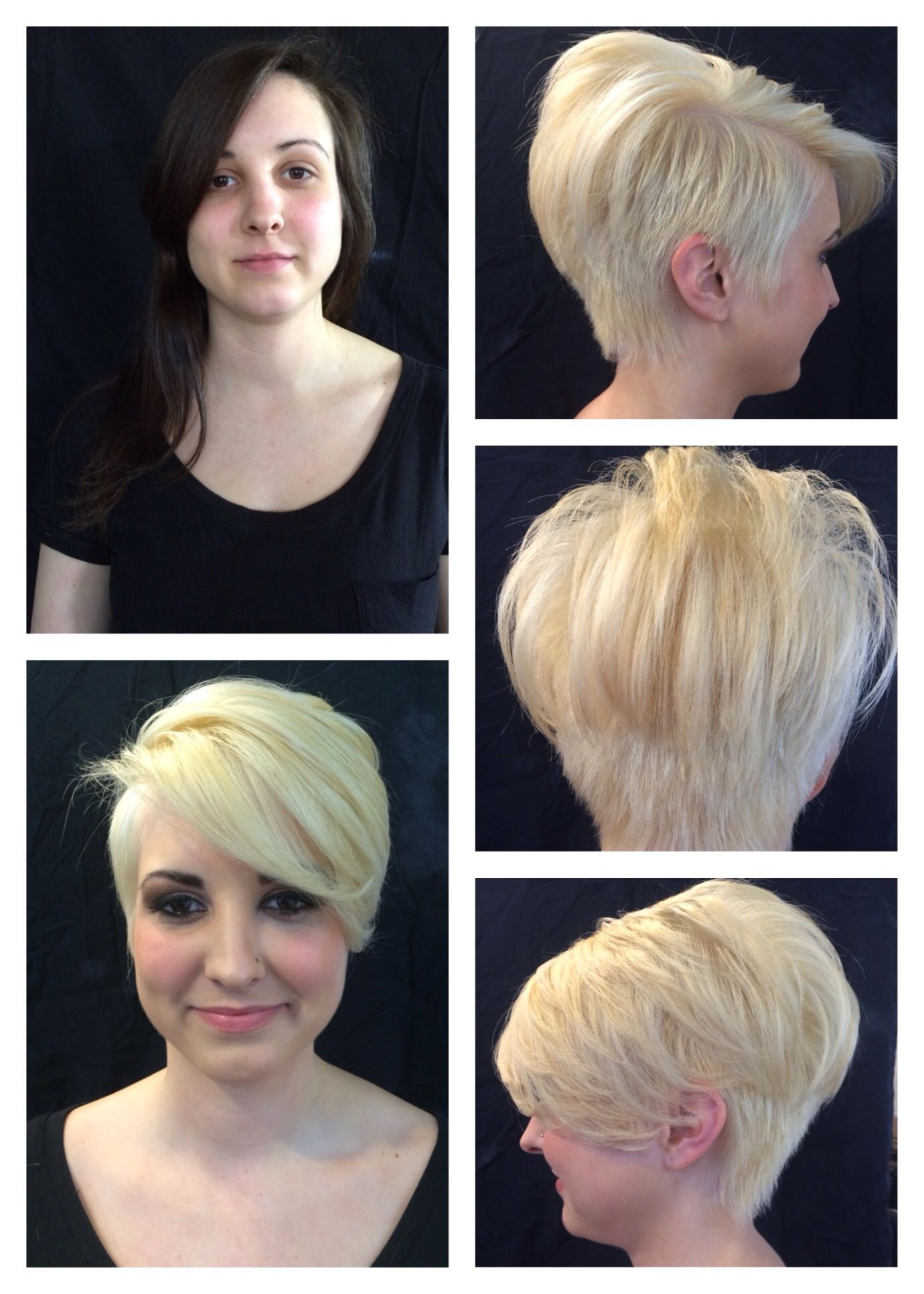 before and after | platinum blonde undercut done by the students