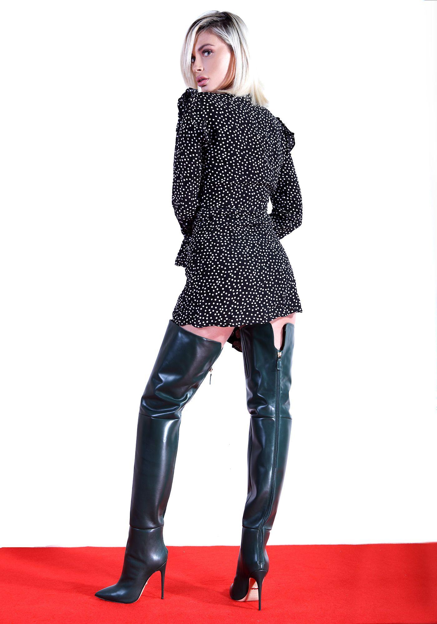 ALINA70 dark green   Overknee stiefel, Overknees, Frauen
