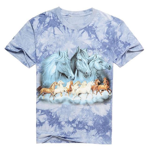8db96c1ac584 Horses 3D Printed Tiedye Cotton T Shirt