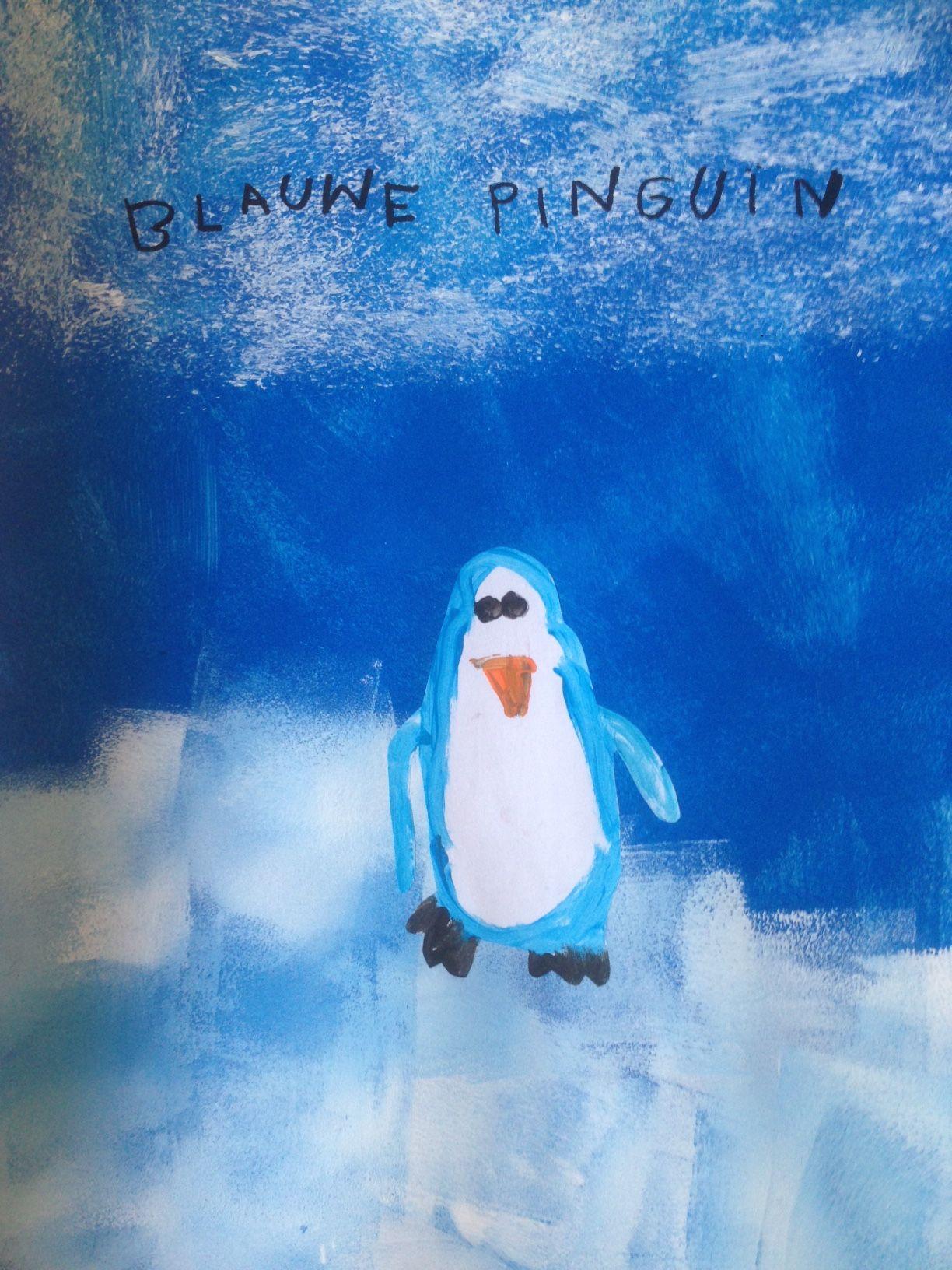 """Blauwe Pinguïn uit het prentenboek """"Het lied van de blauwe pinguïn"""". Achtergrond 1. Donkerblauw met rollen 2. Witte ijslaag met rollen 3. Sneeuwstorm in de lucht met reliëfrol. Pinguïn schilderen met plakkaatverf en uitknippen."""