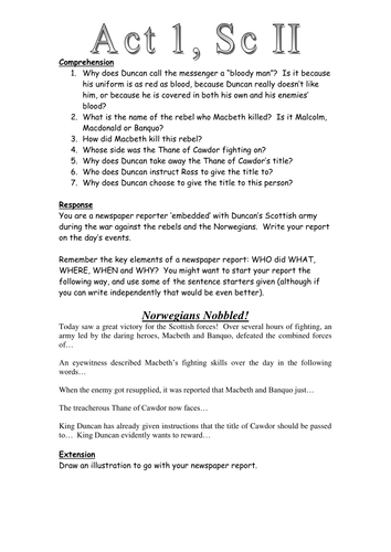 Macbeth: Act 1 Scene 2: Newspaper Task Worksheet