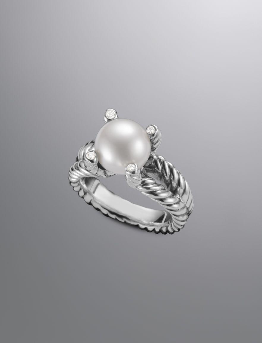 f3eed8cb279df DAVID YURMAN Cable Pearl Ring with Diamonds ($595), NEW, Sz 8 ...