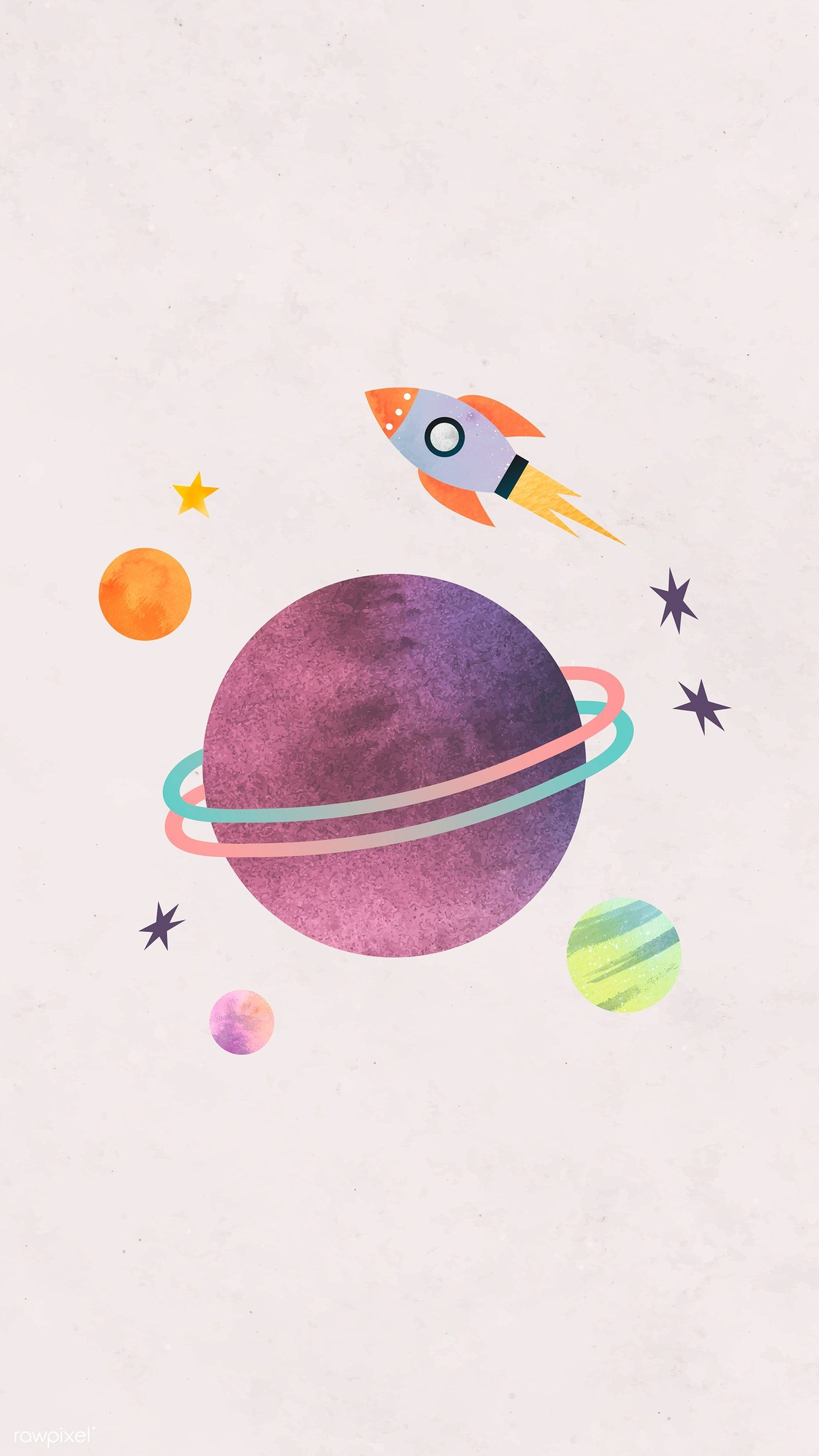 Download premium vector of Colorful galaxy watercolor doodle with a rocket