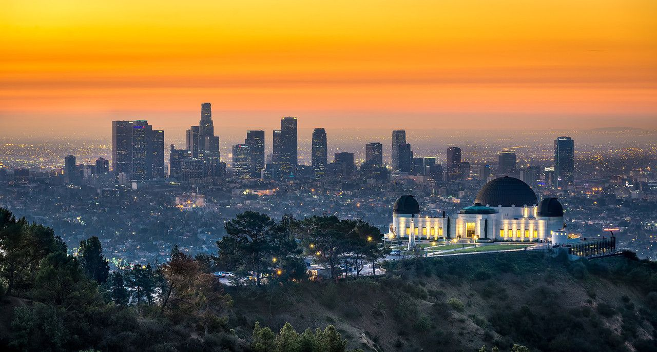 Sunrise At The Griffith Observatory Losangeles City Landscape California Travel Night City