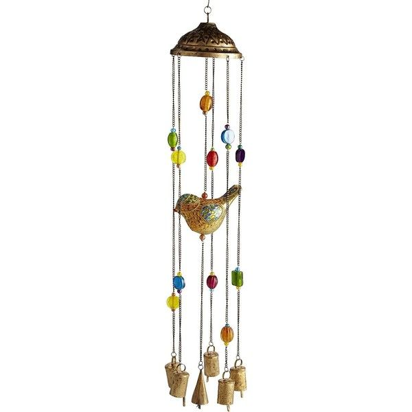 Pier One Bird Wind Chime - Gold ($35) ❤ liked on Polyvore