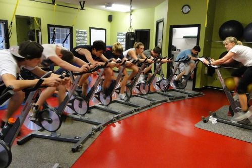 Spinning + TRX class at Jim's Gym in Parksville BC