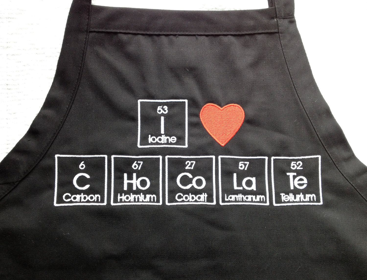 I Love Chocolate Apron Embroidery 34 Periodic Table Science Geek