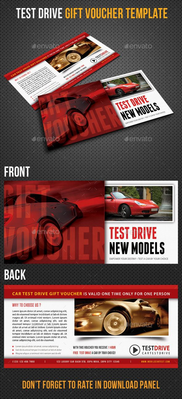 Test Drive Gift Voucher V01 Gift vouchers and Gift - free test templates