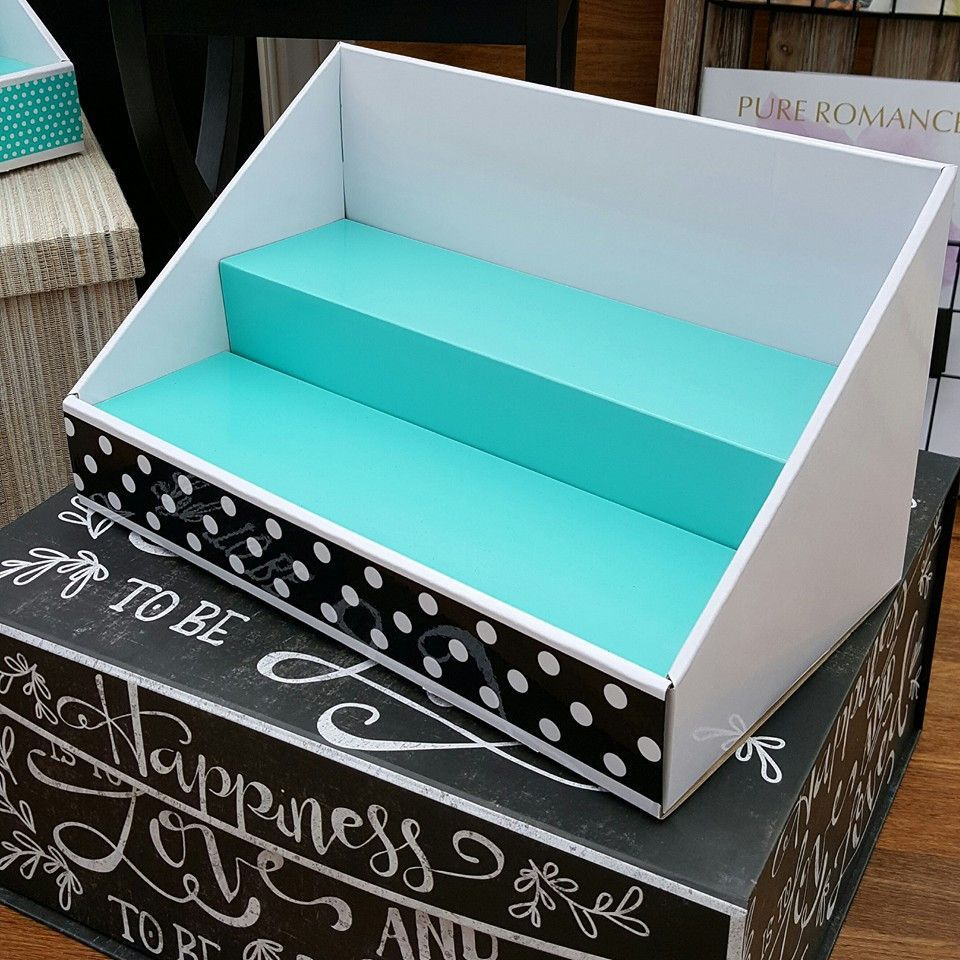 "Cardboard Display - White with Teal Insert & Polka Dot Design 14""wide x 8"" deep x 8"" high with 4""deep shelves. In Stock and ready to ship! Our displays were"