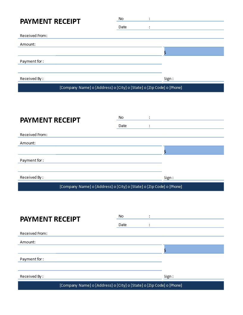 Patient Payment Receipt Template