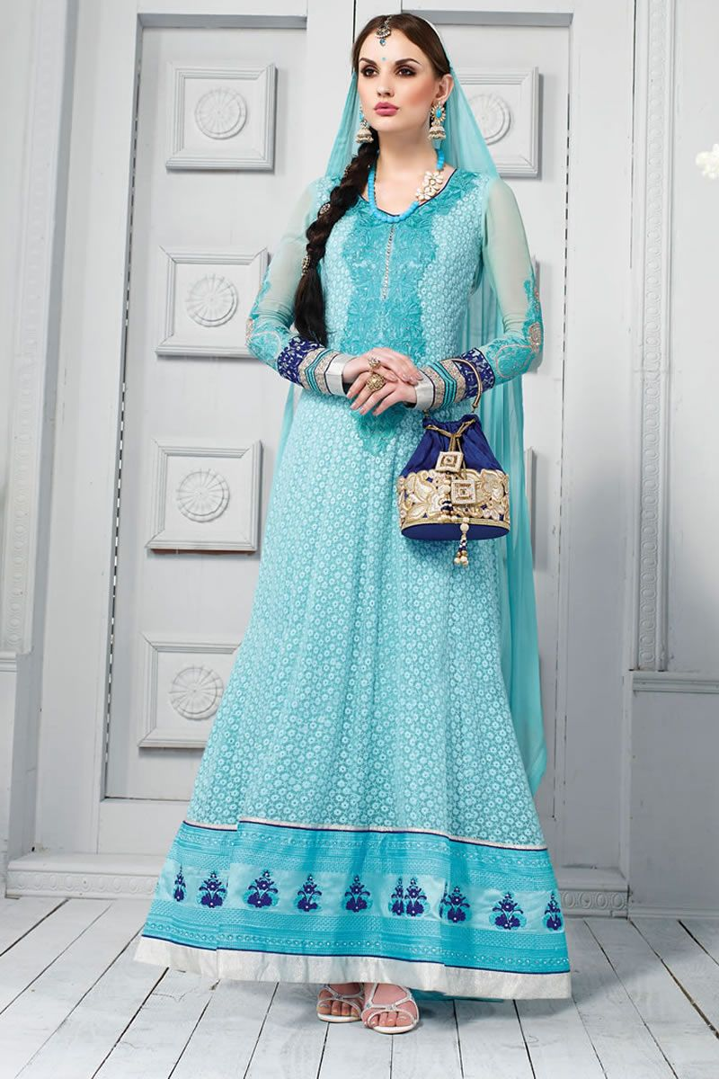Blue Designer party wear salwar kameez From Onlinesareessshopping ...
